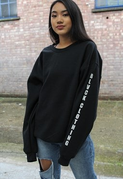 Oversized Black Sweatshirt With sleeve print