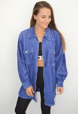 90s Vintage Blue Corduroy Jacket /sweatshirt