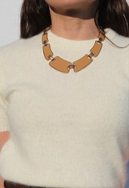 Deadstock 90's enamel statement metal necklace