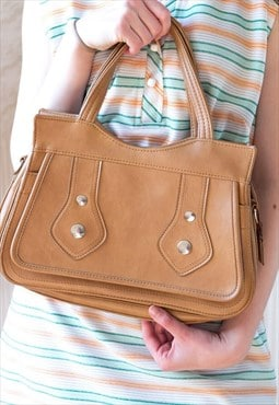 Light brown rectangular soft vintage handbag