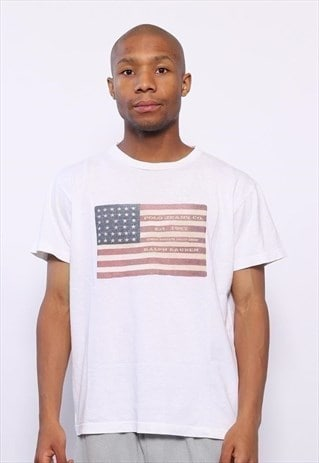 Vintage Polo Jeans USA Flag Big Logo T-Shirt White