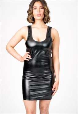 Mylle PVC Black Leather Scoop Neck Midi Dress