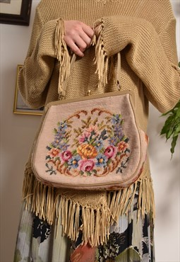 Vintage 60s handbag with floral cross stitch embroidery