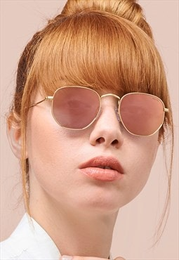 Alex Pink Mirrored Gold Fashion Womens Aviator Sunglasses