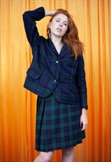 Vintage 80s Skirt Suit Green Black Tartan Blazer Kilt Co Ord