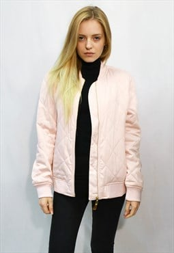 Quilted Satin Black Puffer Bomber puffer Jacket in pink