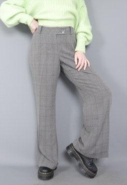 Vintage 90s wide leg turn up brown pinstripe trousers