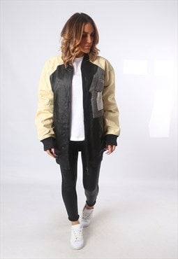 Leather Bomber Jacket Long Varsity  NBA UK 18 - 20  (E5AV)