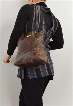 Puccini Faux Leather Backpack Brown Shopper