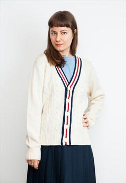 Vintage 70's College Preppy Style Cream Cardigan