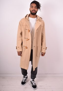 Mens Vintage Duffle Coat Large Beige 90s