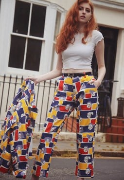 Printed Blue Red Yellow Cropped Denim Jeans / part of a set