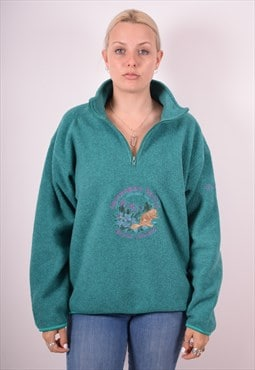 Sergio Tacchini Womens Vintage Fleece Jumper Large Green 90s