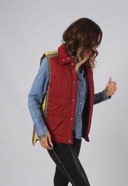 Vintage Gilet Jacket Fitted Retro Red UK 12 (LAN)