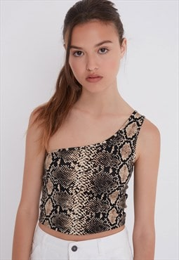 Snakeskin one shoulder top - beige and black