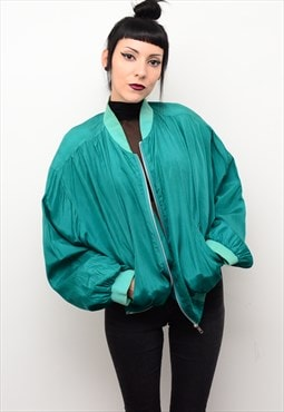 Vintage 90's Oversized Silk Bomber Jacket in Jade Green