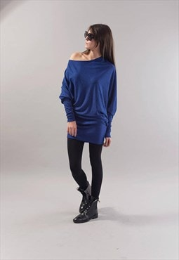 Loose Blue Blouse Oversize Top Light knit Sweater F1746