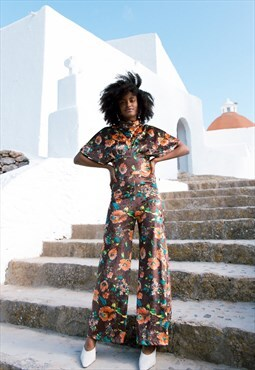 CASBAH- brown floral 70's style velvet lycra jumpsuit