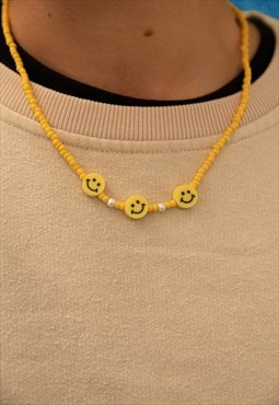 Yellow Bead Smiley Necklace