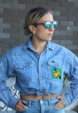 Vintage 1990s Looney Tunes embroidered denim shirt