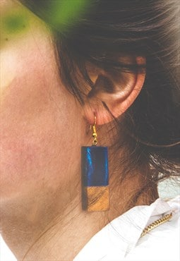 Natural Wood Resin Rectangle Drop Earrings in Blue for Women