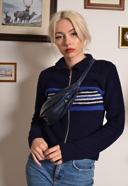 Vintage 90s Bum Bag Fanny Pack in Navy Blue Leather