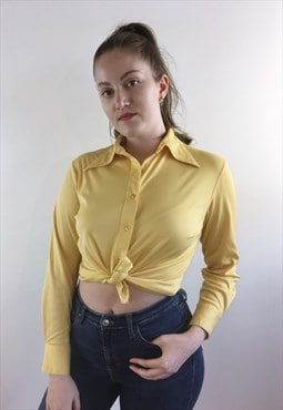 Womens Vintage 70s blouse yellow pointy collar shirt top