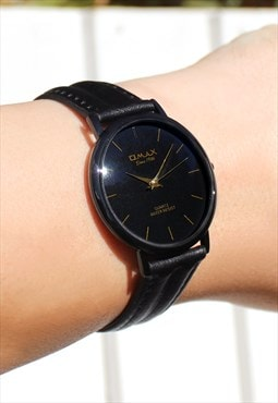 Omax Slim Black Leather Watch