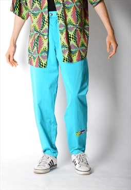 Vintage 80s Turquoise Blue Golf Patch Shell Sports Pants