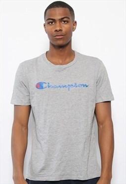 Vintage Champion Print Logo T-Shirt Grey