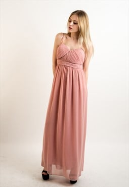 Pleated Bust & Sweetheart Neckline Maxi Dress (ORANGE) CY