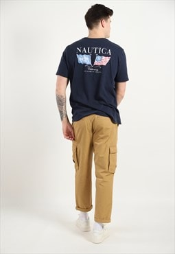 Vintage NAUTICA Big Back Logo T Shirt Navy