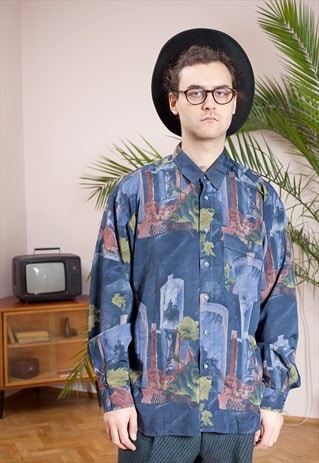 ABSTRACT PRINT VINTAGE 90S MEN'S COLLAR, LONG SLEEVE SHIRT