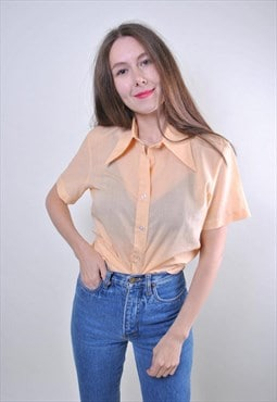 Retro yellow woman minimalist short sleeve blouse, Size S