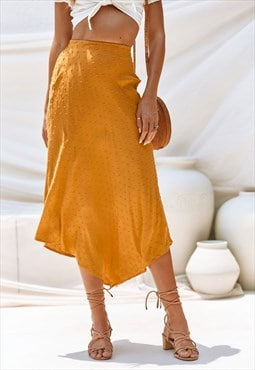 Aspen Maxi Skirt Mustard with flowing fit