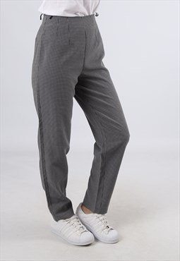 High Waisted Trousers Checked Wide Tapered Leg UK 8 XS (GJ2I