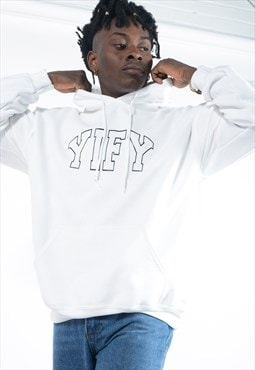 Unisex hoodie in white with outline logo.