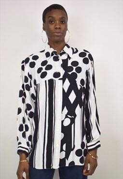 Vintage 90s Black and White Geometry Shaped Shirt