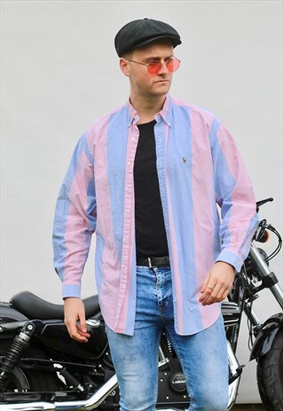 RALPH LAUREN USA PASTEL STRIPED VARSITY VINTAGE SHIRT