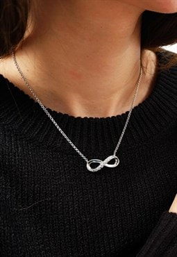Infinity Chain Necklace Women Sterling Silver Necklace