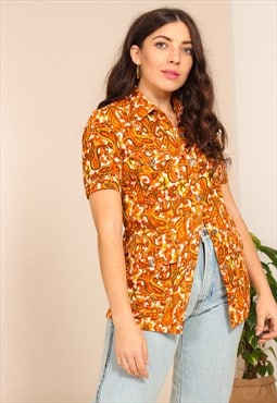 Vintage 70s Short Sleeve Blouse in Orange Paisley Print
