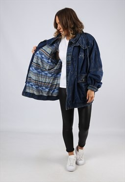 Denim Jacket Patterned Lined Oversized Long UK 20 (BJ3Z)