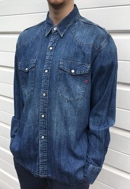 Mens Vintage 90s shirt long sleeved button up blue denim top