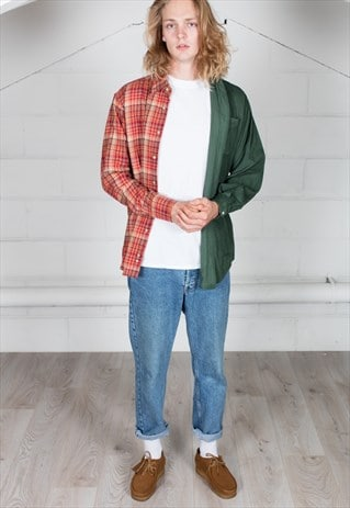 VINTAGE CORD CHECKERED FLANNEL RECONSTRUCTED UNISEX SHIRT