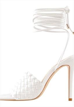 Square Open Toe Lace up Stiletto Slip On Mule Sandals