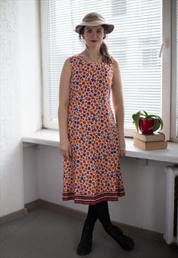 Vintage 80's Multi Colour Flower Patterned Dress