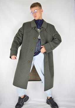Vintage dark grey wool classic long coat