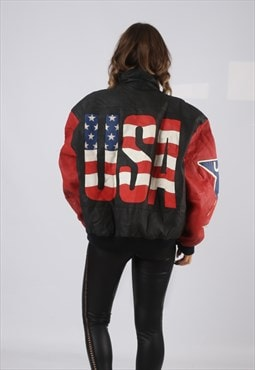 Leather Bomber Jacket USA Michael Hoban UK 16  (GV4M)