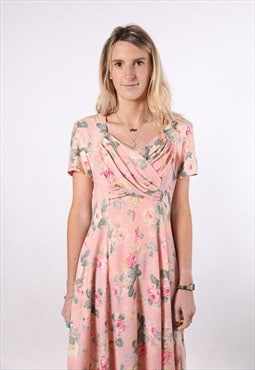 Vintage 90s Pink Rose floral Midi casual dress