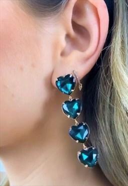 Heart Shape Crystal Earrings- Emerald Green